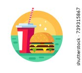flat style fast food vector... | Shutterstock .eps vector #739315867