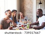 group of four young people... | Shutterstock . vector #739317667