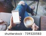 mockup image of woman's hands... | Shutterstock . vector #739320583