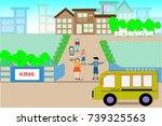 school buildings and students... | Shutterstock .eps vector #739325563