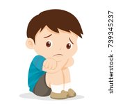 sad boy depressed boy looking... | Shutterstock .eps vector #739345237