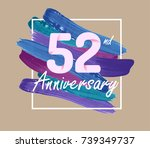 52nd anniversary with colorful... | Shutterstock .eps vector #739349737