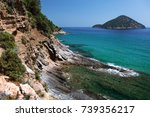 view of the coastline on... | Shutterstock . vector #739356217