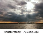 sailing ship on the elba river  ... | Shutterstock . vector #739356283