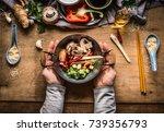 vegetarian stir fry cooking... | Shutterstock . vector #739356793