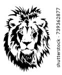a lion head logo in black and... | Shutterstock .eps vector #739362877