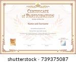 luxury certificate template... | Shutterstock .eps vector #739375087