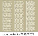 vector set of line borders with ... | Shutterstock .eps vector #739382377