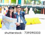 hipster young girls wearing hat ... | Shutterstock . vector #739390333