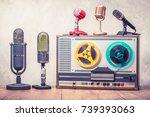 retro reel to reel tape... | Shutterstock . vector #739393063