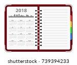 calendar 2018 year organizer... | Shutterstock .eps vector #739394233