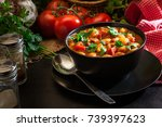 white bean soup with potatoes ... | Shutterstock . vector #739397623