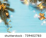christmas background with fir... | Shutterstock . vector #739402783