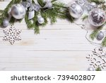 silver christmas decoration on... | Shutterstock . vector #739402807