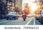 motorcycle and cars are riding... | Shutterstock . vector #739406113