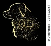 happy new year card with dog.... | Shutterstock .eps vector #739413367