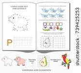 letter p. dot to dot... | Shutterstock .eps vector #739425253