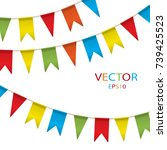 colorful garlands on white... | Shutterstock .eps vector #739425523