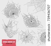 spider cobwebs various forms set | Shutterstock .eps vector #739436707