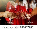 group of young hands with red... | Shutterstock . vector #739437733
