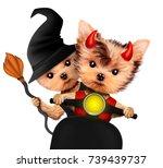 Funny Cartoon Animal Devil And...