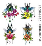 vector jewel insect set with... | Shutterstock .eps vector #739445737