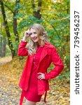 portrait of beautiful blonde... | Shutterstock . vector #739456237