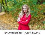 portrait of beautiful blonde... | Shutterstock . vector #739456243