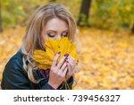 portrait of beautiful blonde... | Shutterstock . vector #739456327