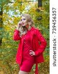 portrait of beautiful blonde... | Shutterstock . vector #739456357