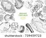 vegetables top view frame.... | Shutterstock .eps vector #739459723