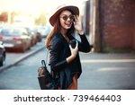 close up fashion woman portrait ... | Shutterstock . vector #739464403