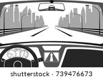 car on the road  a view from... | Shutterstock .eps vector #739476673