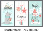 merry christmas greeting card... | Shutterstock .eps vector #739488607