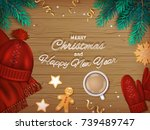 merry christmas and happy new... | Shutterstock .eps vector #739489747