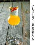 delicious alcoholic shot drink...   Shutterstock . vector #739496947