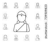 hindu woman avatar. set of... | Shutterstock . vector #739509823