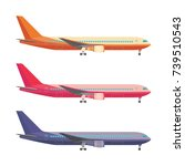 airplane in colored tail set... | Shutterstock .eps vector #739510543
