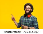 smiling hipster man in... | Shutterstock . vector #739516657