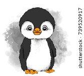 a cartoon penguin. vector... | Shutterstock .eps vector #739520917