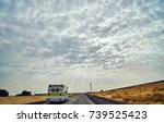 freight truck on open highway... | Shutterstock . vector #739525423