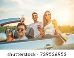 the happy friends sit in a... | Shutterstock . vector #739526953
