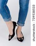 women's legs with high heels... | Shutterstock . vector #739538533