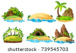 six views of islands on white... | Shutterstock .eps vector #739545703