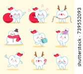 tooth with christmas on the... | Shutterstock .eps vector #739552093