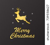 merry christmas golden text on... | Shutterstock .eps vector #739558627