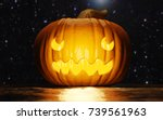 halloween night scene with jack ... | Shutterstock . vector #739561963