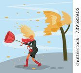 autumn stormy weather. the wind ... | Shutterstock .eps vector #739582603