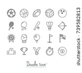 doodle sports icons. hand drawn ... | Shutterstock .eps vector #739582813
