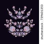 set of vector floral decorative ... | Shutterstock .eps vector #739601353